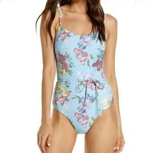 Chelsea 28 Blue Floral Retro Tie Swimsuit